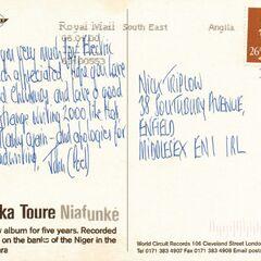 Postcard to Nick Triplow