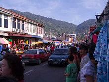 Traffic jam along Air Itam Road, George Town, Penang
