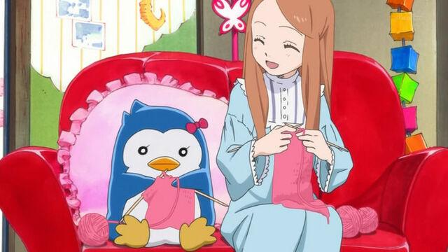 File:Mawaru-penguindrum-01-himari-penguin-3-bow-knitting-happy-1-jpg.jpg