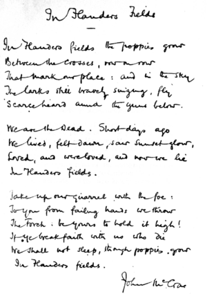 In Flanders fields and other poems, handwritten