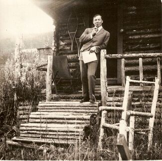 603px-Robert Service and the Dawson Cabin
