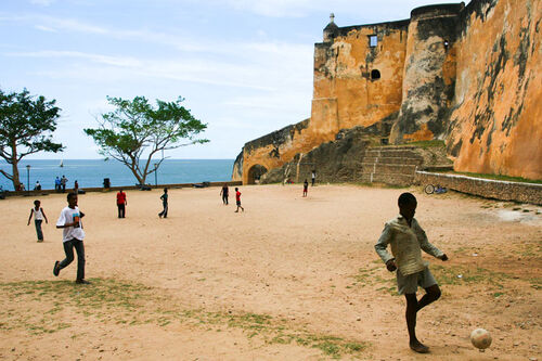 Boys playing soccer at fort