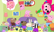 Peppa's apple juice party with everyone from the peppaverse on the ceiling