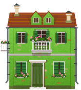 Green House with Balcony Decal