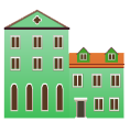 Green venetian building decal