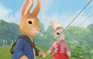 Lily Bobtail And Peter Rabbit Outside