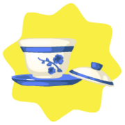 Blue chinese teacup