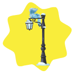 Snowy palace lamp post