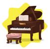Elegant wooden piano