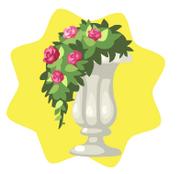 White garden flower pot