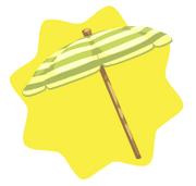 Green striped beach umbrella