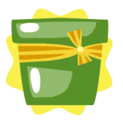Green pot with ribbon