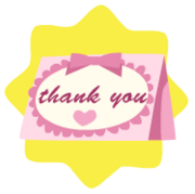 Pink thank-you card