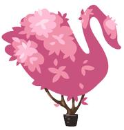 Pink topiary swan
