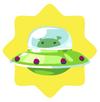 Green alien spaceship