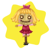 Sweet pink halloween scarecrow