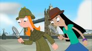 Candace and Stacy in front of Tower Bridge - close-up