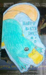 Platypus birthday card, by Ferbluver