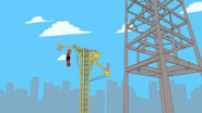 Crane flings coaster