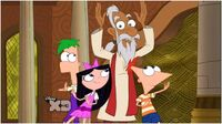 Phineas, Ferb, and Isabella dancing with Uncle Sabu