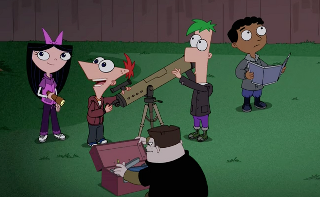 File:Phineas, Ferb and their friends set up their equipment for their overnight sleepover.png