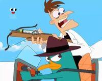 Doofenshmirtz atop Perry's hoverjet