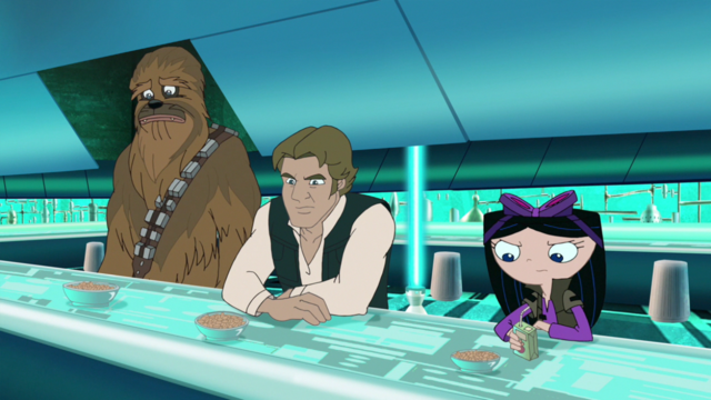 File:Phineas and Ferb Star Wars Isabella, Solo and Chewie.png