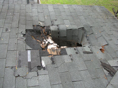 Hole in roof shingles
