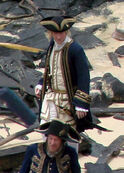 Damian O'Hare as Gillette Geoffrey Rush as Hector Barbossa On Set On Stranger Tides
