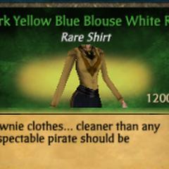 Dark Yellow Blue Blouse White Ruff