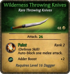Wilderness Throwing Knives Card
