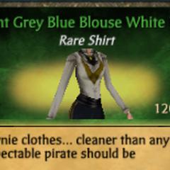 Light Grey Blue Blouse White Ruff