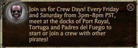 Crew days message window