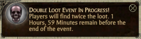 Double loot event pop up