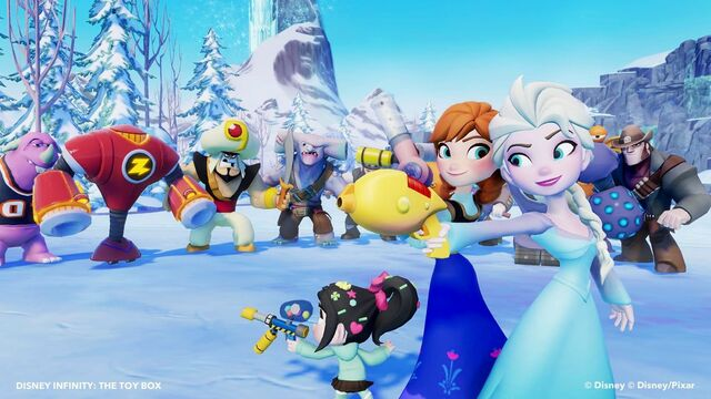 File:Elsa, Anna, and Vanellope against baddies.jpg
