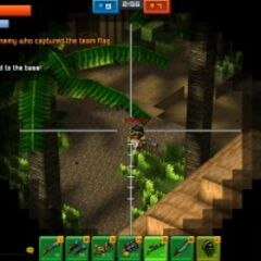 A player aiming at another from long range.