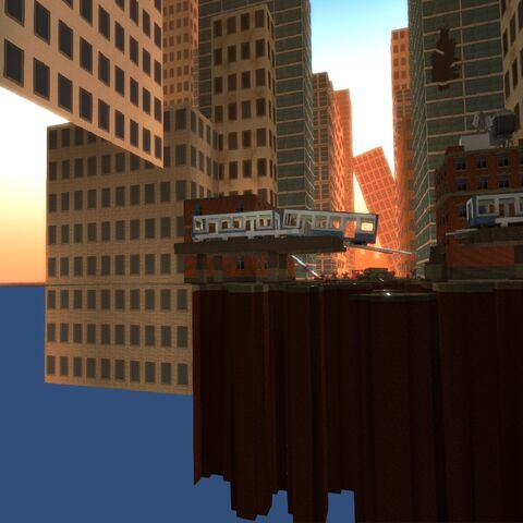 The Destroyed Megalopolis background used in the background in the lobby.
