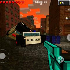 A police car crash, also where coin is.
