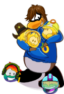 Flames Rainbow Gold Puffles BlueHoodie