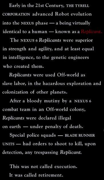 Opening text Blade Runner