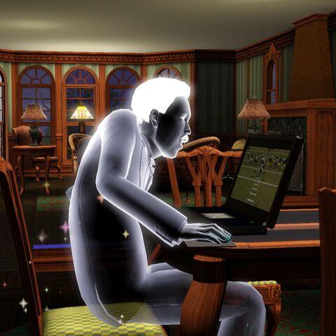 Wiktor grający w grę na laptopie