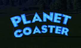 Planet Coaster Arch at night