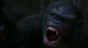 Koba snarls while he shoots at apes