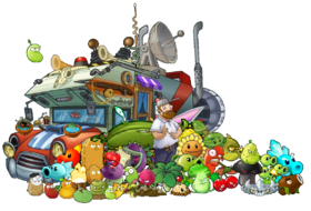 PVZ HD - With Crazy Dave, Penny and plants