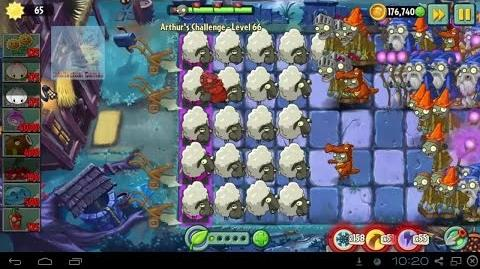 Arthur's Challenge Level 66 to 70 CocoNutCanon WinterMelon's Battle Plants vs Zombies 2 Dark Ages