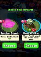 Choice between Smoke Bomb and Dog Walker