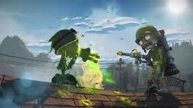 Peashooter using Pea Gatling to faces a Soldier Zombie