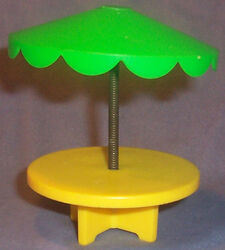 Yellow Patio Table with Green Umbrella