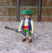 Pirate Figures 30 00 4812 Pirate green shorts cannon boat