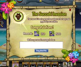 The Succubi Invasion quest completion screen